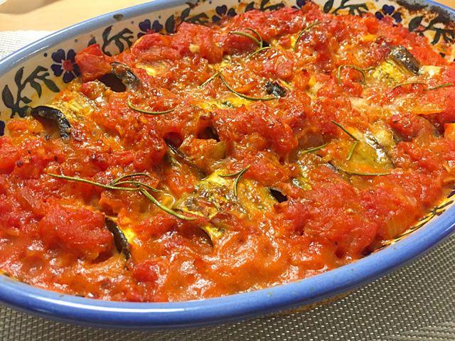 茄子のチーズ巻きトマトグラタン☼