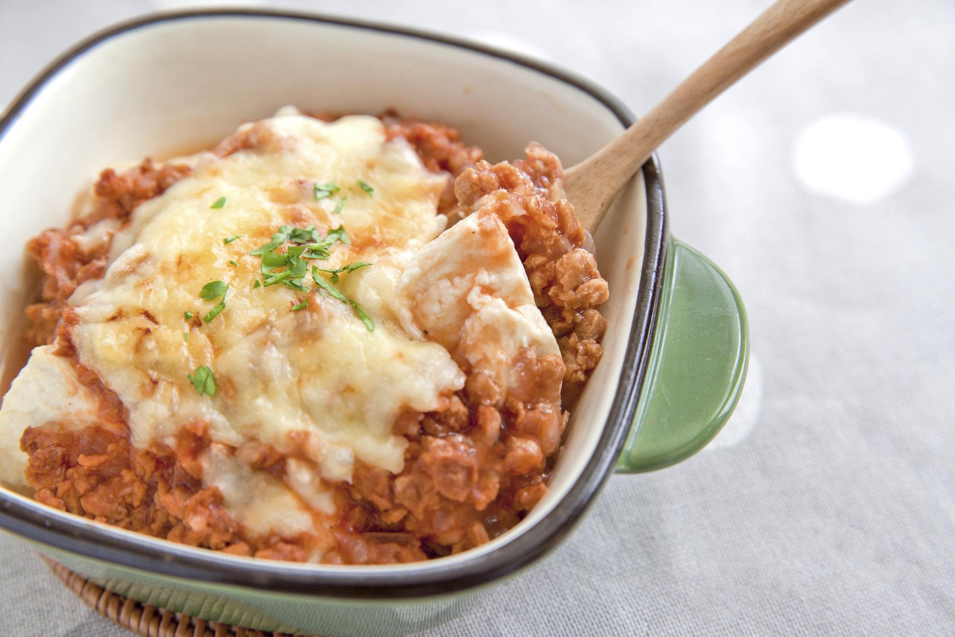 【マルコメレシピ】糖質控えめ料理!大豆のお肉で豆腐グラタン