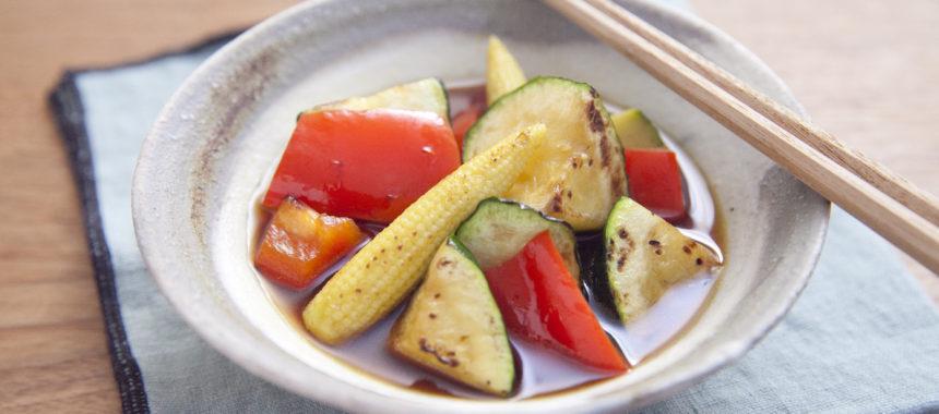 めんつゆで簡単!夏野菜の焼き浸し