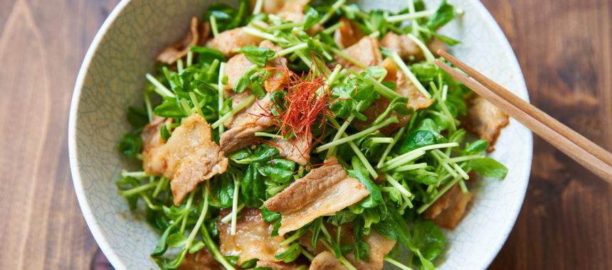 【糖質控えめレシピ】暑さに負けない!豚バラと豆苗のおかずサラダ