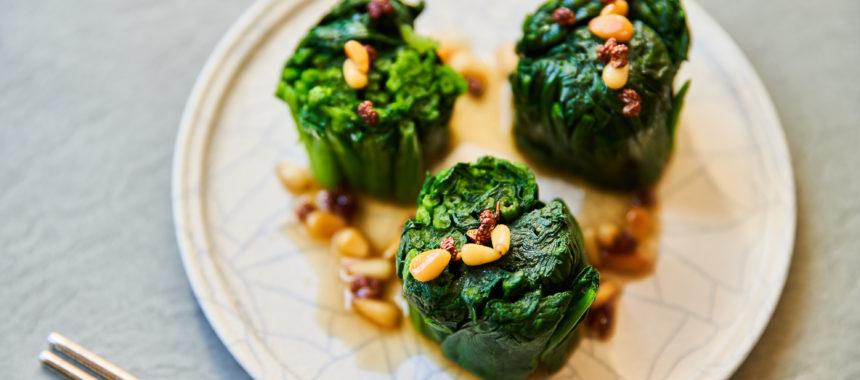 【ELLE gourmet 掲載】ほうれん草の花椒オイルがけ