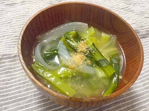 小松菜と新玉ねぎのお味噌汁!