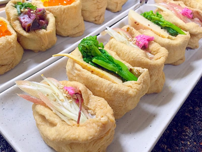 彩りいなり寿司 その1❀(桜&みょうが/菜の花&筍)