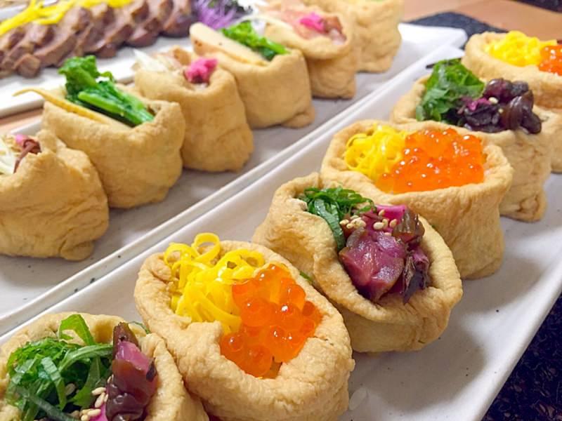 彩りいなり寿司その2❀(いくら&錦糸卵としば漬&大葉)
