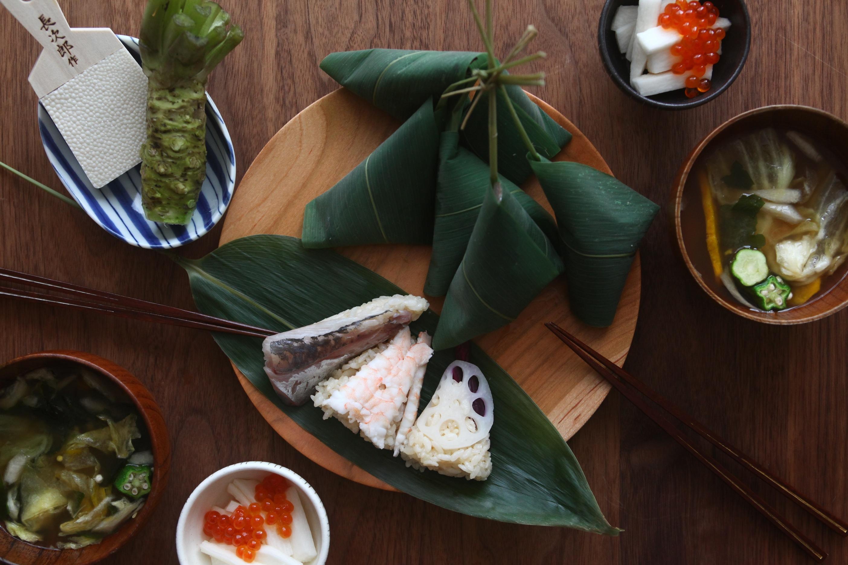 「オトコノキッチン」笹の葉寿司と長芋の浅漬け