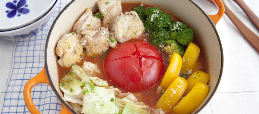 丸ごとトマトのみそトマトチーズ鍋