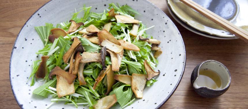 カリカリきのこの水菜サラダ