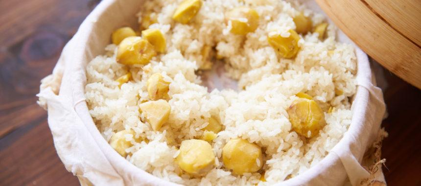 もち米で美味しく作る、栗ごはん(栗おこわ)
