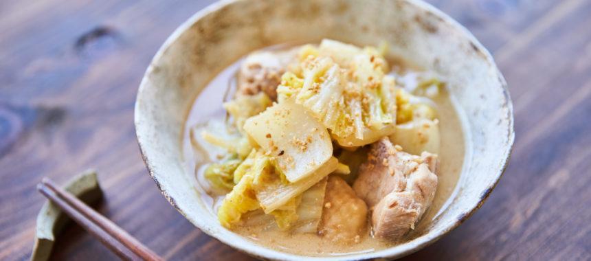 白菜と鶏肉のごま煮
