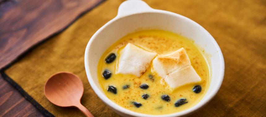 【「カルピス」レシピ】かぼちゃと黒豆のおしるこ