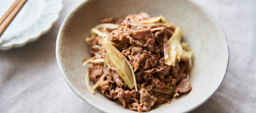 【糖質控えめレシピ】牛肉とみょうがの黒酢しぐれ煮
