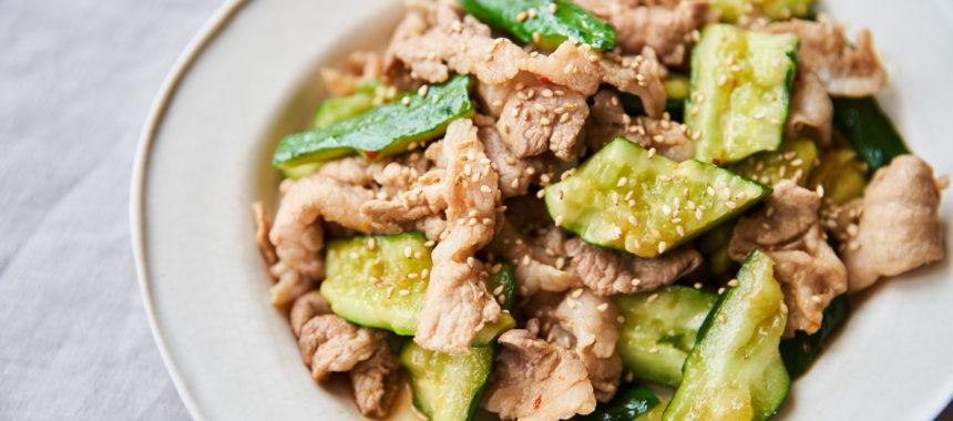 【糖質控えめレシピ】きゅうりと豚肉のピリ辛炒め